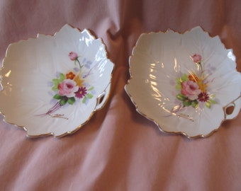 Se tof two leaf shaped dishes/ handpainted multi colored floral design/ gold trim