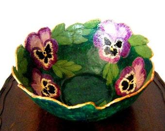 Vintage Handmade Papier Mache Pansy Bowl