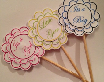 Beautiful handmade baby shower cupcake toppers pk 20