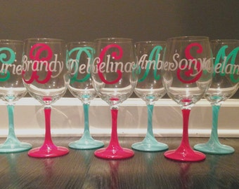 Set of 7 Personalized Wine Glasses