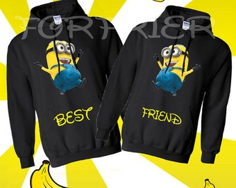 "Two minion black hoody sweatshirts that read ""best"" and ""friends""."