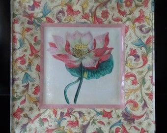Vintage botanical lotus flower print decoupaged on glass plate