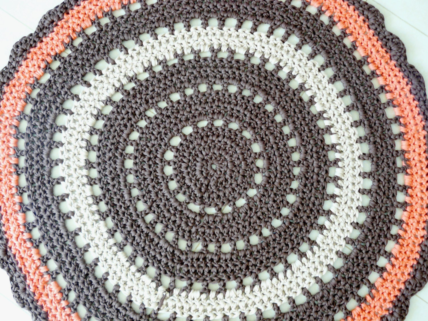 Crochet round rug boho rug giant doily rug cotton floor by ...