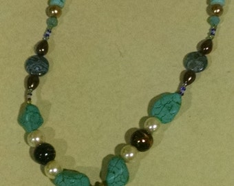 Turquoise and Brown Necklace with Peace Pendant