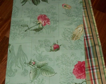 "Spring Botanical Roses & Feathers 72"" Table Runner"