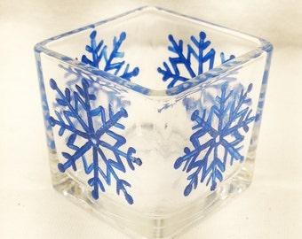 Hand Painted Votive Candle Holder- Blue Snowflake Square Glass Votive Holder