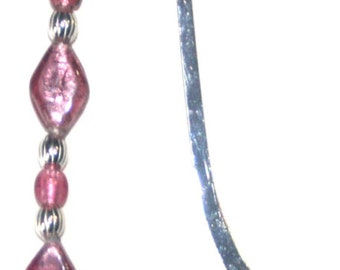 Unique Vintage Silver Seahorse and Pink Glass Bookmark