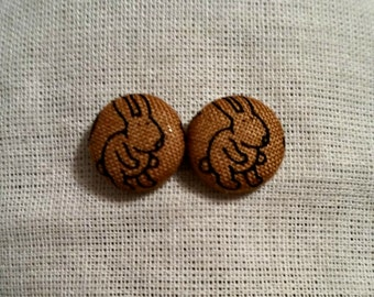 Rabbit fabric covered button earrings- Hop to It