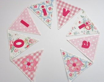 Personalized Cath Kidston Fabric Bunting, Priced per flag, New Baby, Gift, Handcrafted, Personalised, Room Decoration, Birthday, Pink, Blue