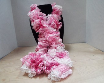 Crochet Ruffle Scarf, Handmade Pink and White Ruffled Scarf, Pretty in Pink / Valentine's Day / Breast Cancer Awareness