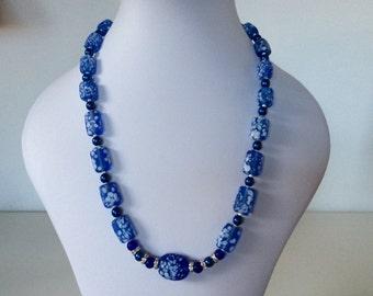 Blue Matt glass necklace