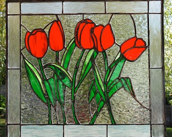 Stained glass tulips panel. 17x15""