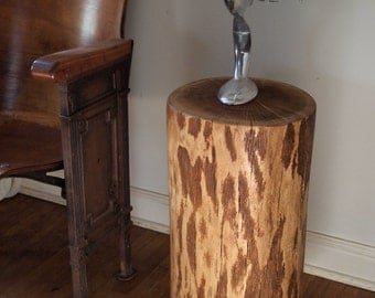Stunning Log Stump Coffee table on Casters, The PERFECT leather chair accent or nightstand table.