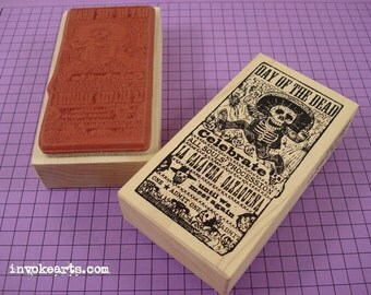 Day of the Dead Ticket Stamp / Invoke Arts Collage Rubber Stamps