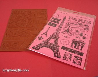Tower Eiffel Invoke Arts Collage Rubber Stamps / Unmounted Stamp Set