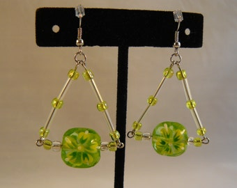 Green Flowers and Triangles Earrings