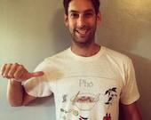 Pho T-shirt: Men's White Power Washed AA Cotton Short sleeve