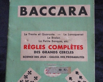 Rulebook of BACCARAT by G - B of Savigny.  French vintage 1950