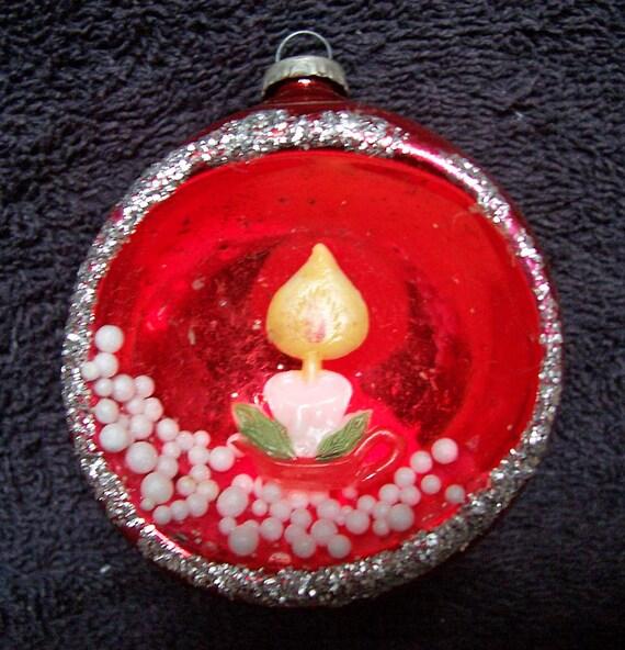 2 Vintage Glass Christmas Tree Ornaments JAPAN SCENE By