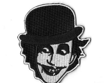 Adicts Face Embroidered Patch / Iron On Applique Clockwork Orange Droog Bowler Hat