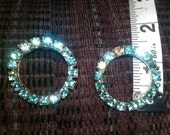 Vintage, Set of two matching Silver Tone Brooches with Blue stones, approximate length 1.25 inches each
