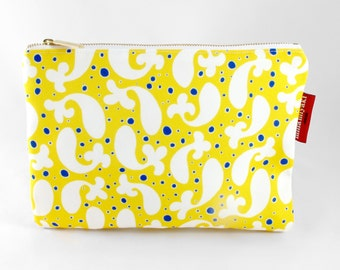 Paisley Fish Zipper Cosmetic Makeup Pouch Toiletry bag Purse organizer Clutch case Yellow White, Gift for her, Carryall Canvas Lining
