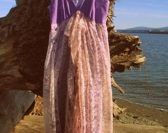 Purple Beach Dress size Med Large traveller, roamer, wanderer, Bohemian, rambler, nomad, vagrant, Romany,Gypsy,burlesque Hand dyed Gorgeous