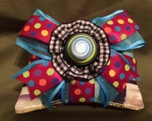 Handmade Organic Lavender Scented Sachet, Double Stacked with Blue Swirly Button & Courtly Check Fabric for the holidays