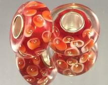 Murano Glass Bead - .925 Plated - Orange With White Flowers - #M71