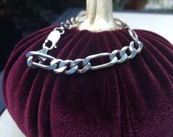 SALE...Sterling silver figaro chain bracelet