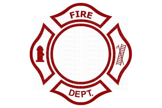 Fire Department Emblem Clip Art Digital Graphics Instant