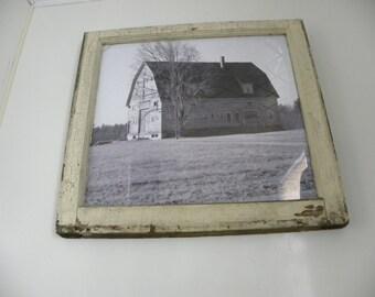 old window sash with photo of NH barn