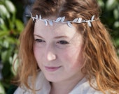 Helena's Silver Leaf Crochet Crown and Headband, Celtic, Gypsy, Boho, Goddess, Festival, Fae, Fantasy, Renaissance Costume