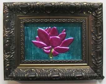 Lotus with blue repousse