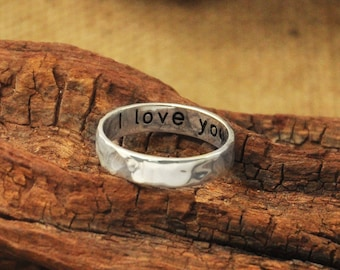 Personalized Ring ,Engraved Jewelry,Silver Engraved Ring, Lovers' Gift, Custom Engraved Jewelry  hammered ring  Grandma Gift