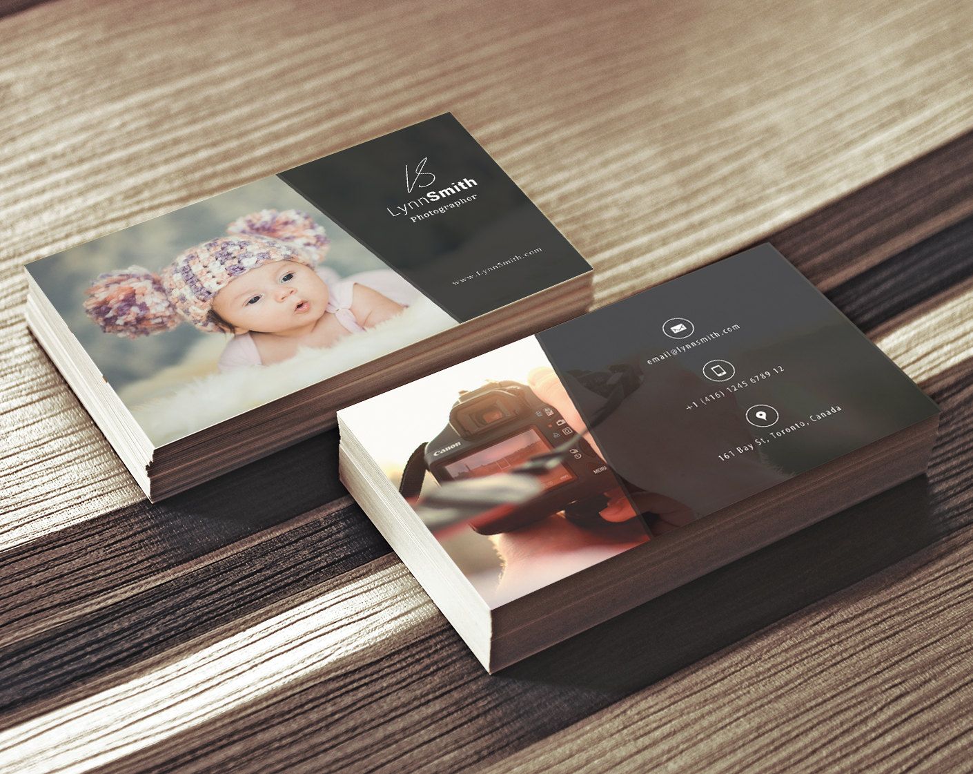 Photographer business card template 2 sided photography for Best business cards for photographers