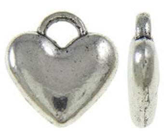 40pcs--Little Hearts, Antique Silver, 7mm (B35-17)