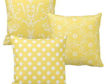 Yellow and White Decorative Throw Pillow Covers, Polka Dot Pillow, Damask Pattern, Shabby Pillows, Chic Pillows, Yellow Bedroom Decor