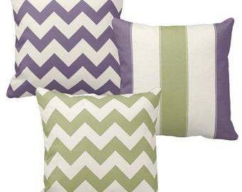 Sage Green Throw Pillows, Purple Pillow Cover, Lavender Off-White Chevron Pillow, Striped Pillow Decorative Throw Pillow Cottage Chic Pillow