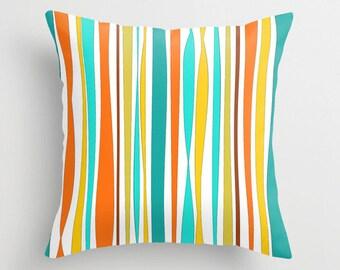Striped Pillow Teal Pillow, Orange Pillow Covers, Yellow Throw Pillow, Colorful Pillows, Decorative Pillows, Accent Pillow, Outdoor Pillows
