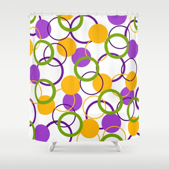 Items similar to colorful shower curtain purple yellow for Purple and yellow bathroom accessories