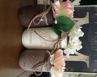 Rustic Painted Mason Jars - Distressed Jars - Shower Centerpiece - Wedding Centerpieces - Home Decor - Neutral Earthtones - Vintage Inspired