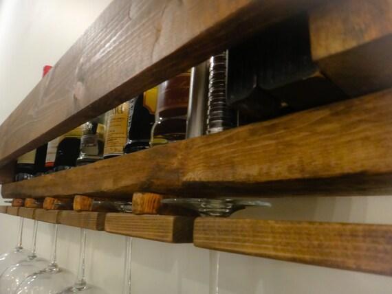 wall mounted wine rack bar liquor shelf by renegadewoodworks. Black Bedroom Furniture Sets. Home Design Ideas