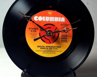 "Recycled BRUCE SPRINGSTEEN 7"" Record • Song: Born In The USA • Record Clock"
