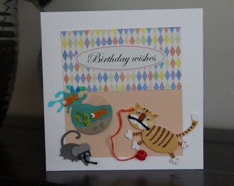 Cute cat and mouse Greeting Card