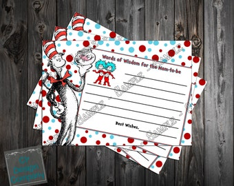 Cat in the Hat - Thing One Thing Two - Dr. Suess Baby Shower - Words of Wisdom Printable