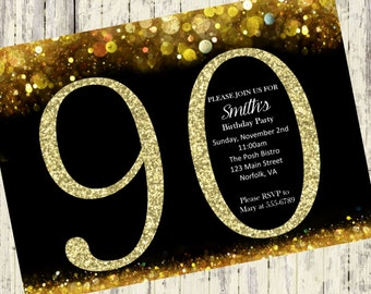 90th Birthday Invitation, Gold Glitter Birthday Party Invite, Women's 90th Surprise Birthday, Elegant, Printable Digital DIY