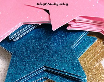 "3"" Inch - Twinkle Twinkle Little Stars! Paper Stars, Die Cut Glitter Stars, 4-24 Count, Birthday Party Confetti stars"