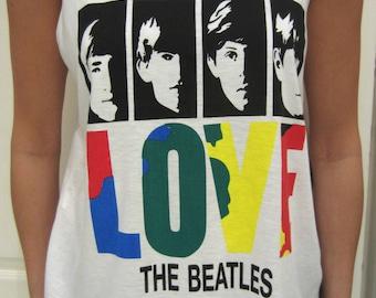 Love The Beatles White Festival Womans Retro Vest Top