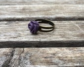 Simple Dainty Matte Royal Purple Rose Adjustable Ring